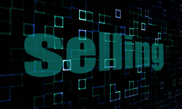 Pixelated words selling on digital background Pixelated words selling on digital background image with hi-res rendered artwork that could be used for any graphic design. entreprise stock pictures, royalty-free photos & images