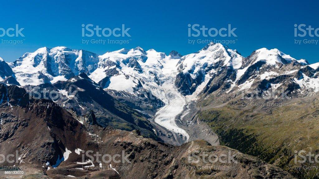 Piz Bernina and Morteratsch Glacier, Engadin, Switzerland stock photo