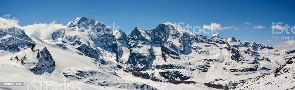 Piz Bernina and Morteratsch peaks in Switzerland stock photo