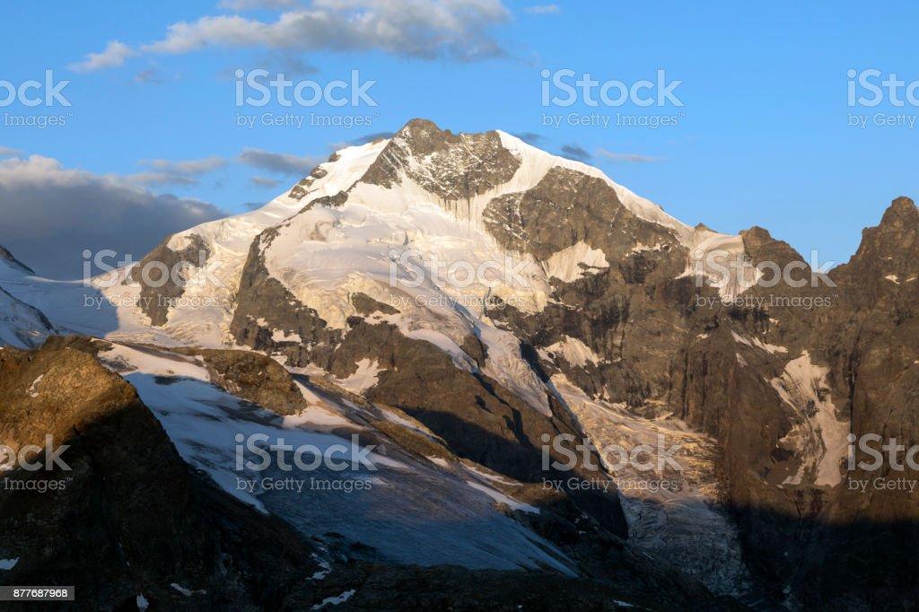 Piz Bernina at sunset, Engadin, Switzerland stock photo
