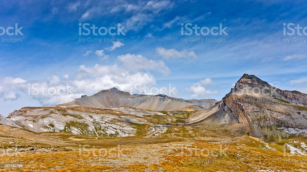 Piz d'Artgas and Mountainscape in the Swiss Alps stock photo