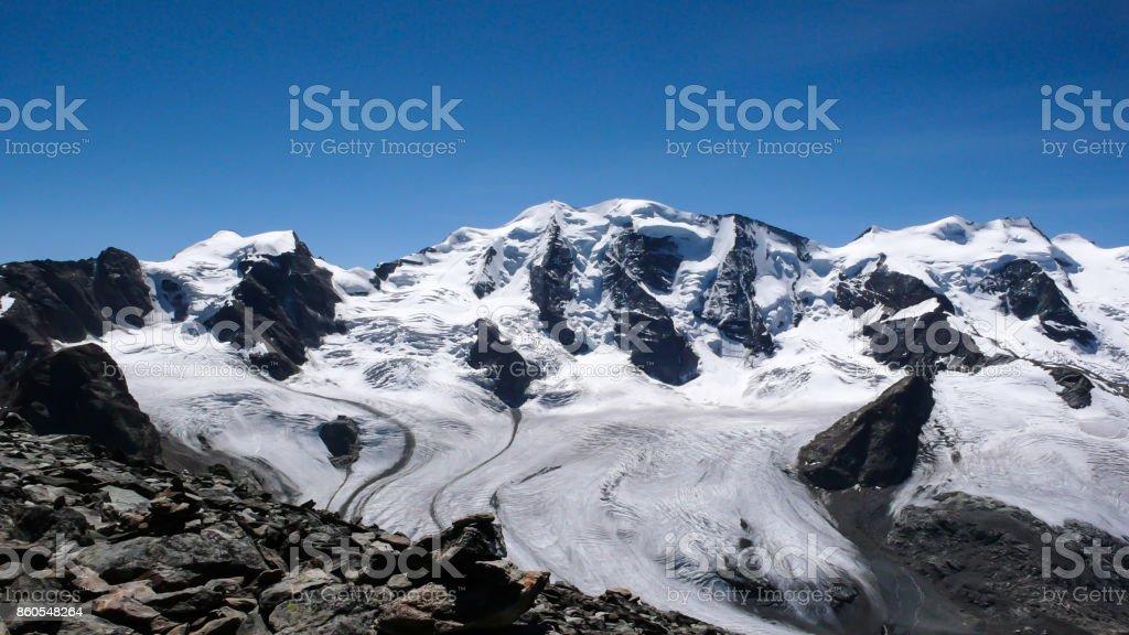 Piz Palü and Bernina mountains stock photo