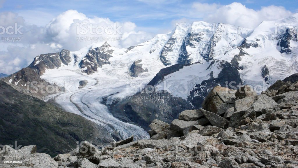 Piz Palü in the Benina mountains in the Swiss Alps stock photo