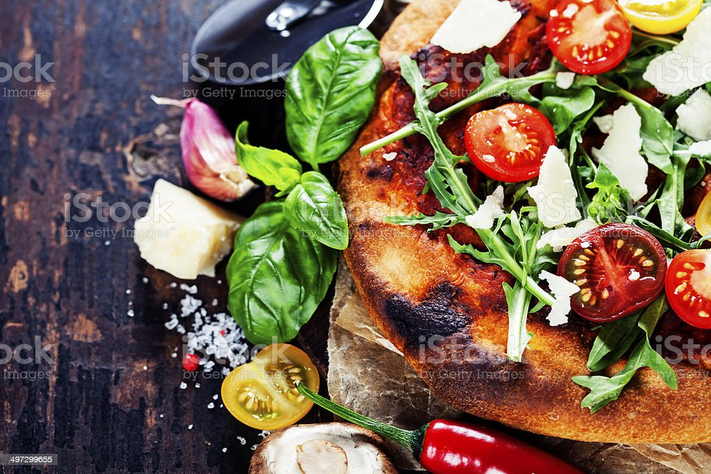 pizza and fresh italian ingredients stock photo