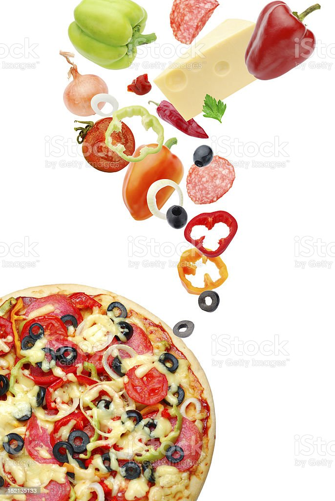 Pizza and ingredients royalty-free stock photo