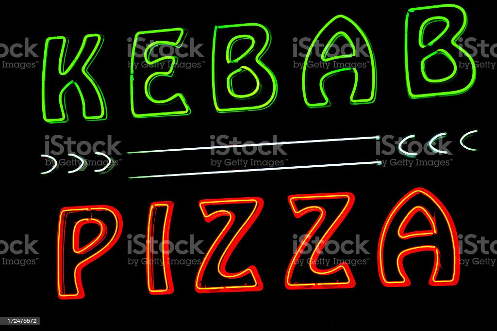 Pizza and Kebab neon royalty-free stock photo