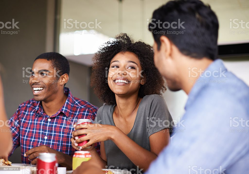 Pizza and laughs stock photo