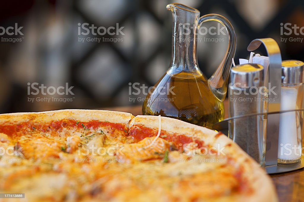 pizza and olive oil royalty-free stock photo