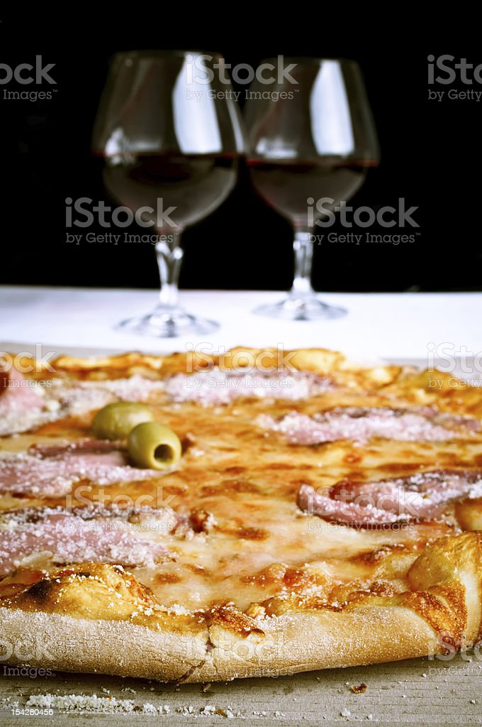 Pizza and red wine royalty-free stock photo