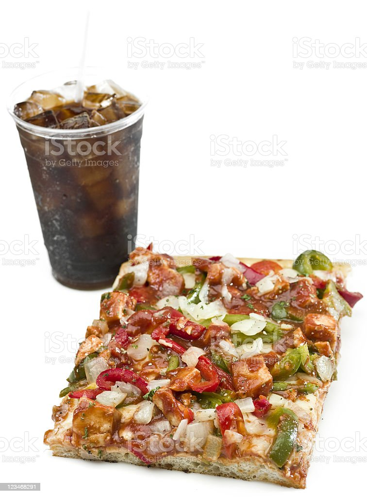 Pizza and soda stock photo