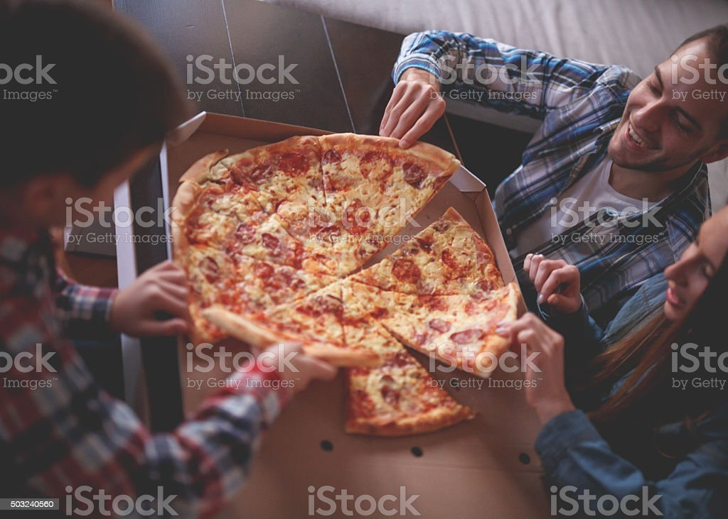 Pizza at home stock photo