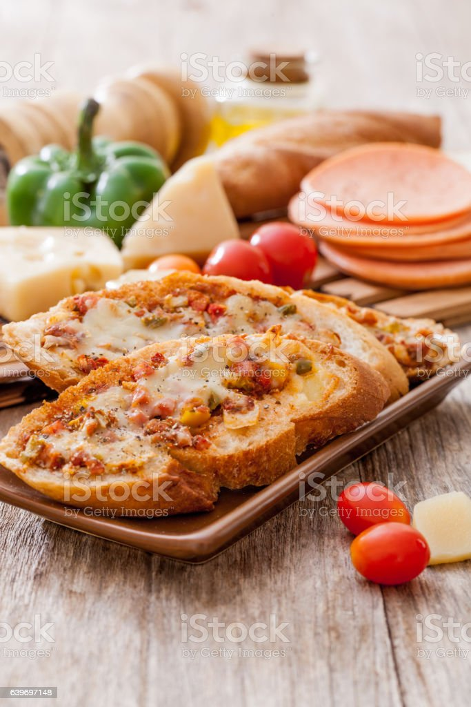 Pizza Baguette stock photo