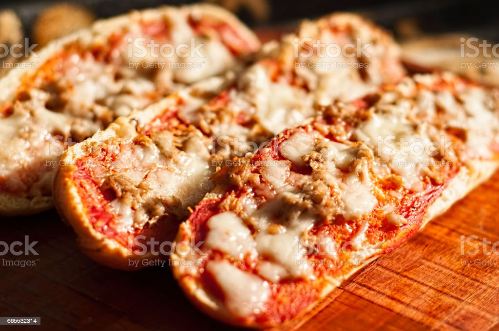Pizza Baguettes stock photo