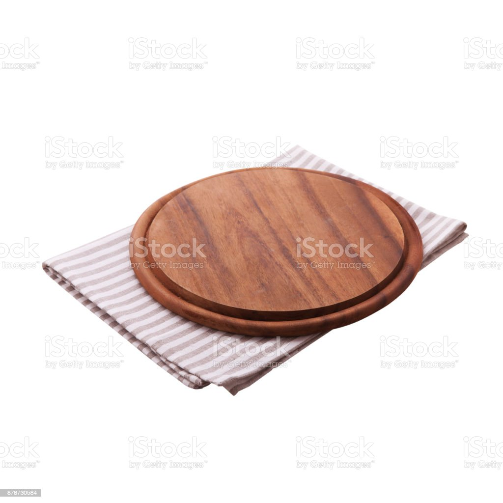 Pizza board, napkin isolated. Top view mockup stock photo