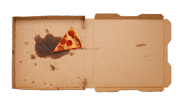 Pizza Box Pizza box with leftover slice on white background.  Please see my portfolio for other food and drink images. slippery stock pictures, royalty-free photos & images