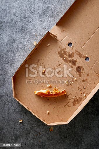Pizza box with leftowers. Empty pizza cardboard box viewed from above. Top view.