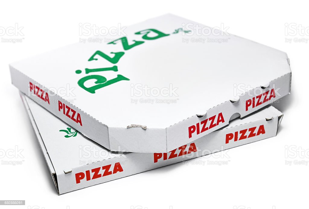 Pizza boxes stock photo