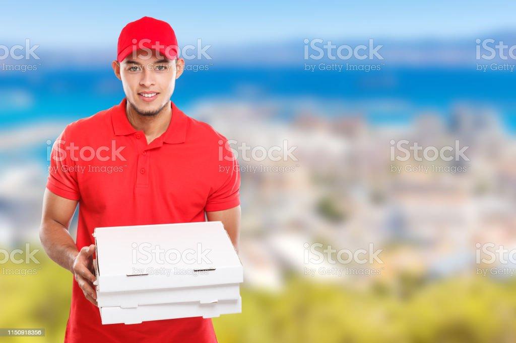 Pizza boy delivery service latin man order delivering job deliver box...