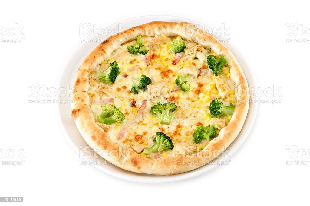 Pizza, broccoli, ham, mozzarella cheese, chicken meat royalty-free stock photo