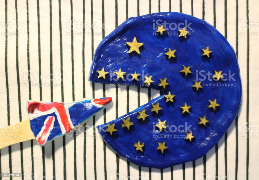 Pizza colors of the flag United Europe and  Great Britain stock photo
