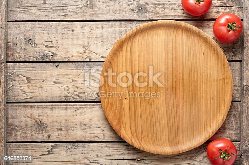 istock Pizza cutting board template with empty blank space for advertising design flat lay 646853074