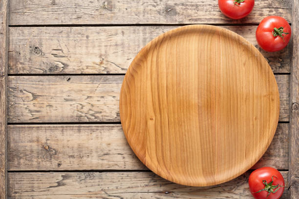 Pizza cutting board template with empty blank space for advertising design flat lay stock photo