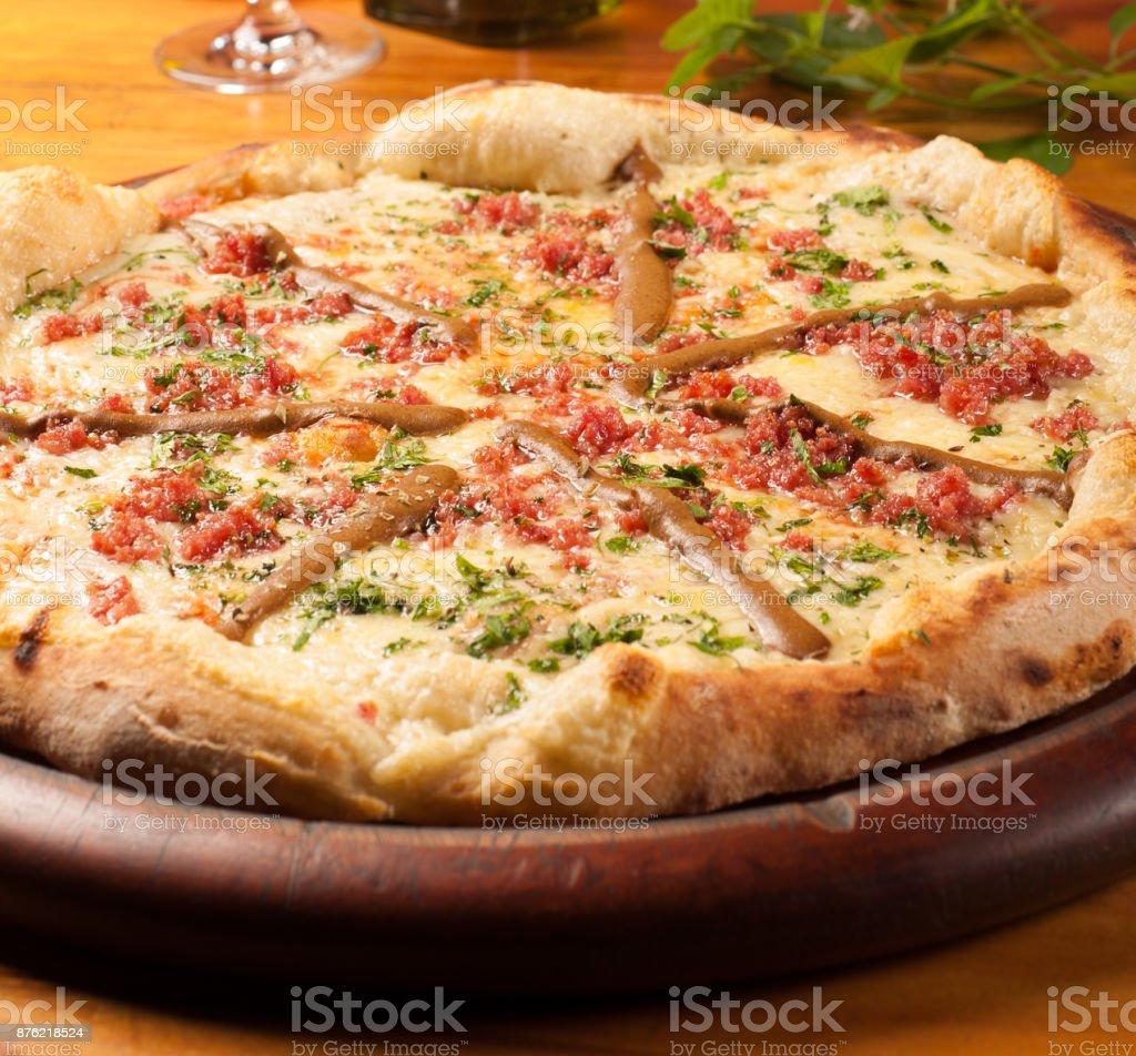 Pizza de Salsicha Viena stock photo
