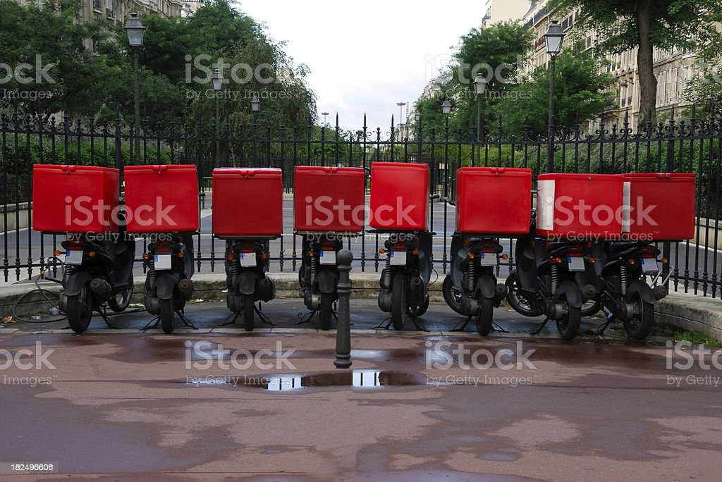 Pizza delivery bikes stock photo