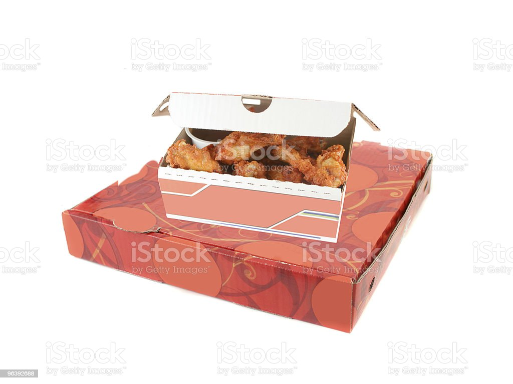 pizza delivery box and chicken wings - Royalty-free Box - Container Stock Photo