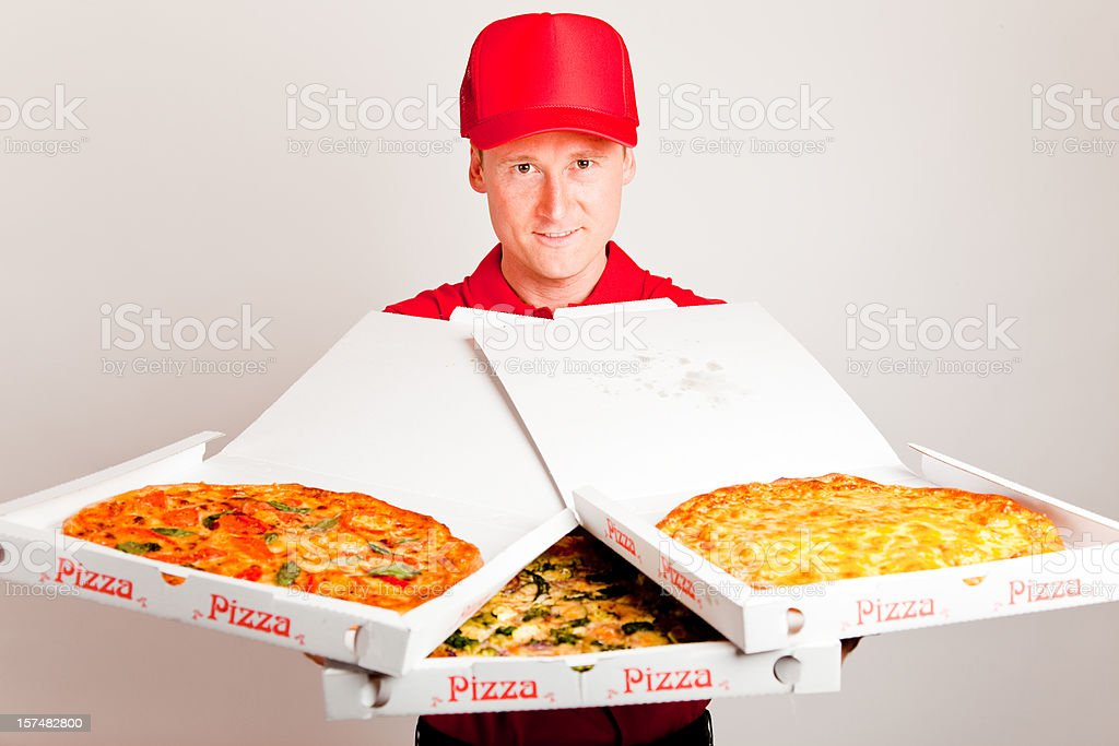 pizza delivery boy royalty-free stock photo