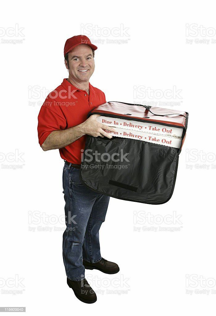Pizza Delivery Full Body Isolated stock photo