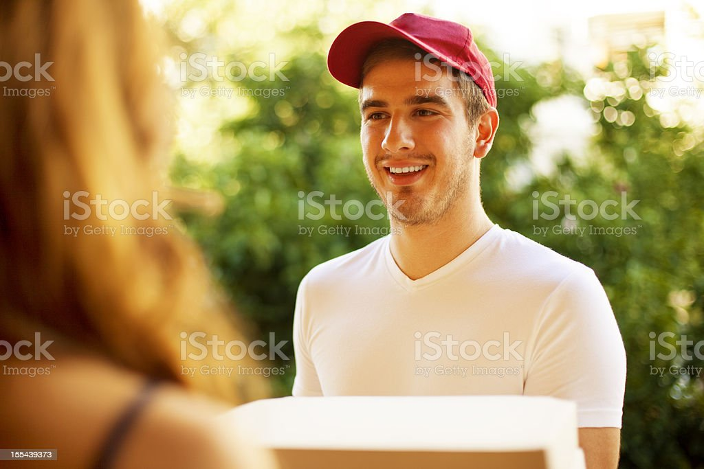 Pizza Delivery Person. stock photo