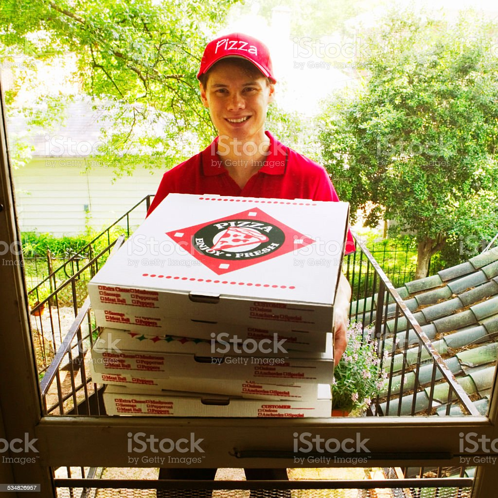 Pizza Delivery Person stock photo