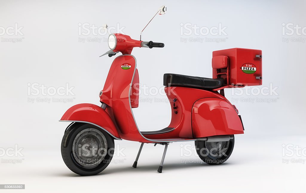 pizza delivery red scooter stock photo