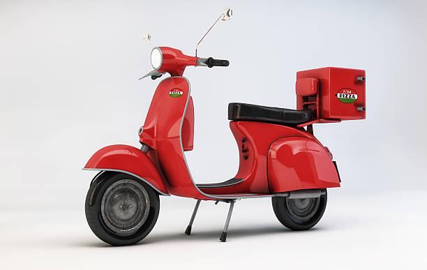 scooter rouge livraison de pizza - moped photos et images de collection