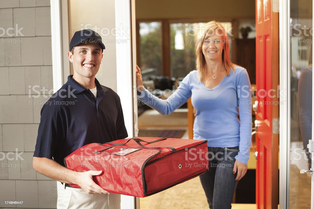 Pizza Delivery Service with Take-out Box and Customer Hz royalty-free stock photo