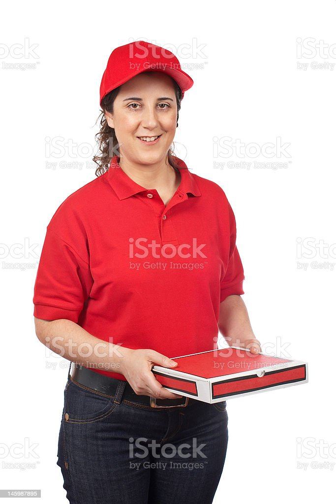 Pizza delivery woman stock photo