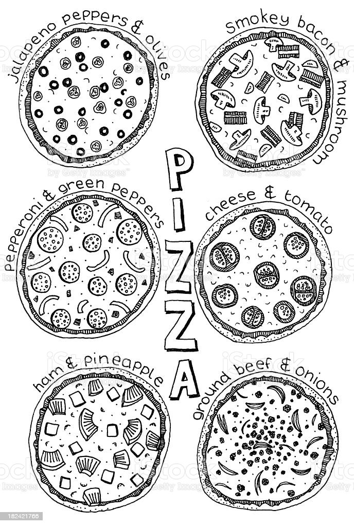 Pizza doodles stock photo