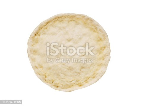 istock Pizza dough isolated on white background. Cooking process step by step. Top view. 1227621205