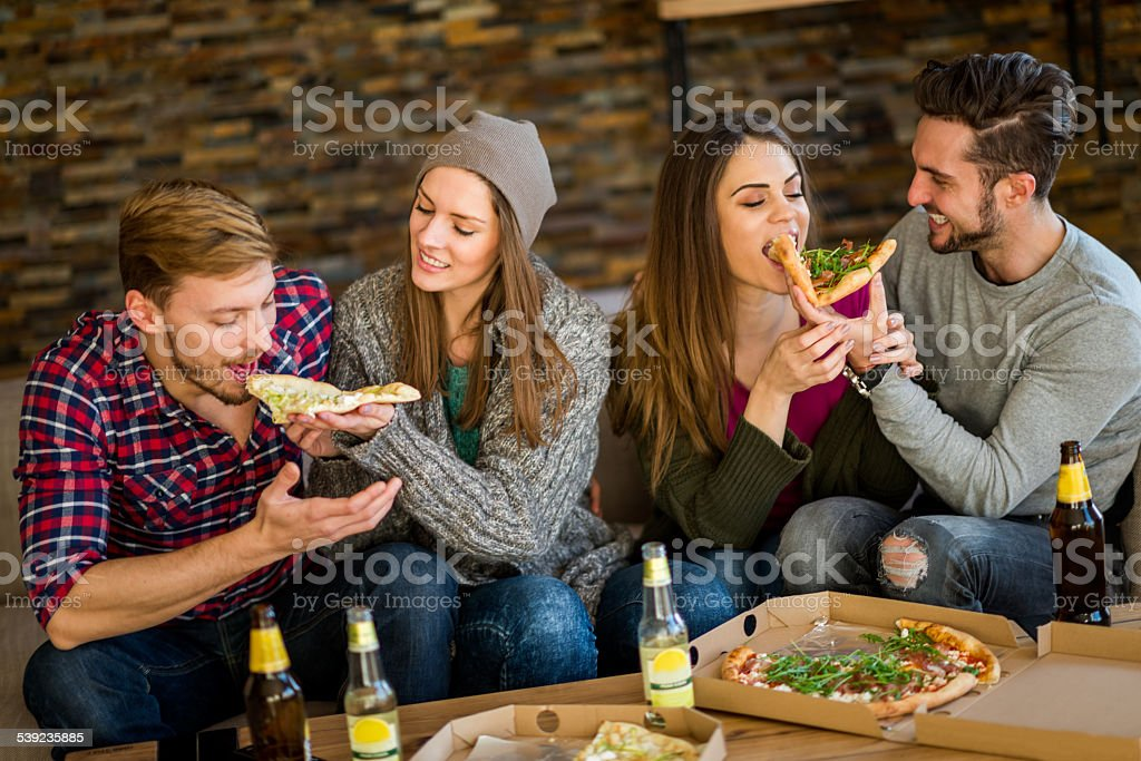 Pizza eating contest royalty-free stock photo