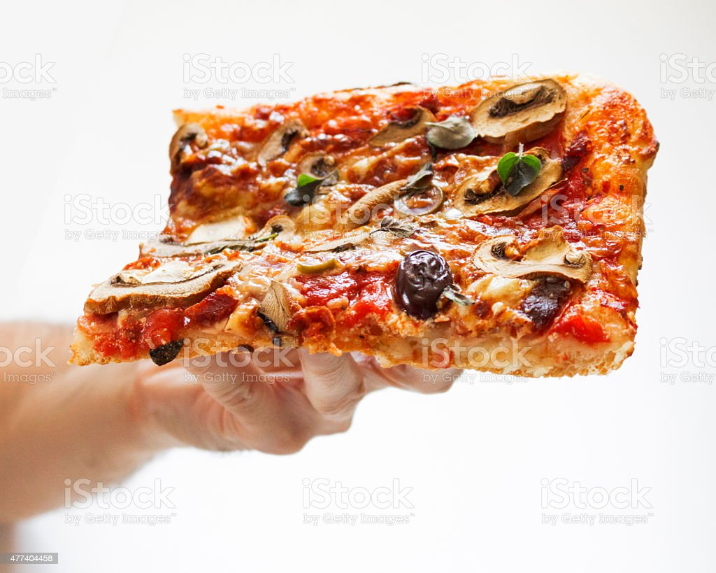 Pizza eating stock photo