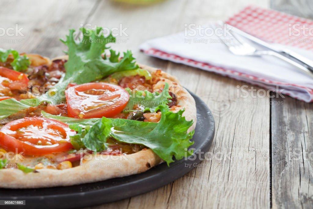 Pizza fastfood Italiaans - Royalty-free Avondmaaltijd Stockfoto