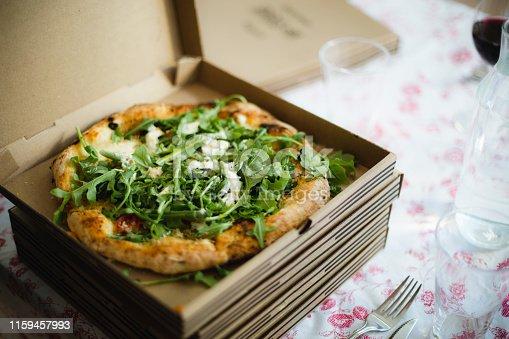 food, pizza, pizza box, delivery, arugula