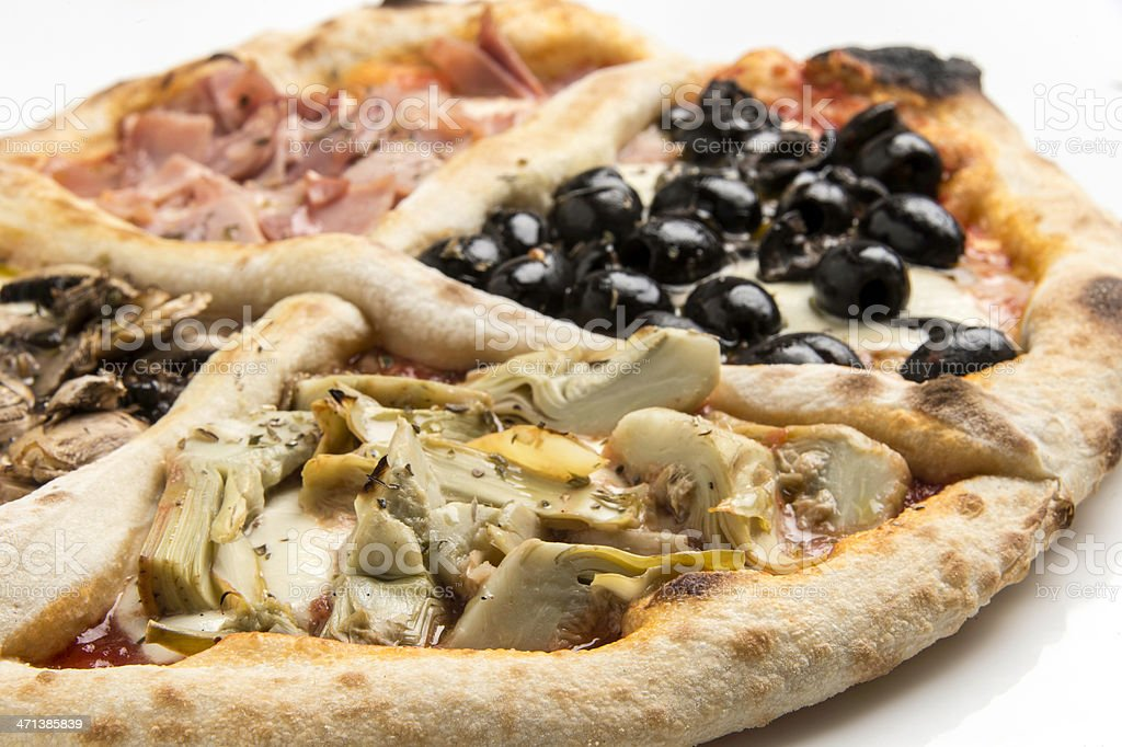 Pizza Quattro Stagioni royalty-free stock photo