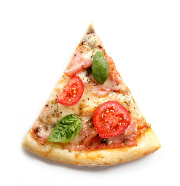 Pizza. Fresh Italian margherita with salami, basil and tomato isolated on white background. Top view stock photo