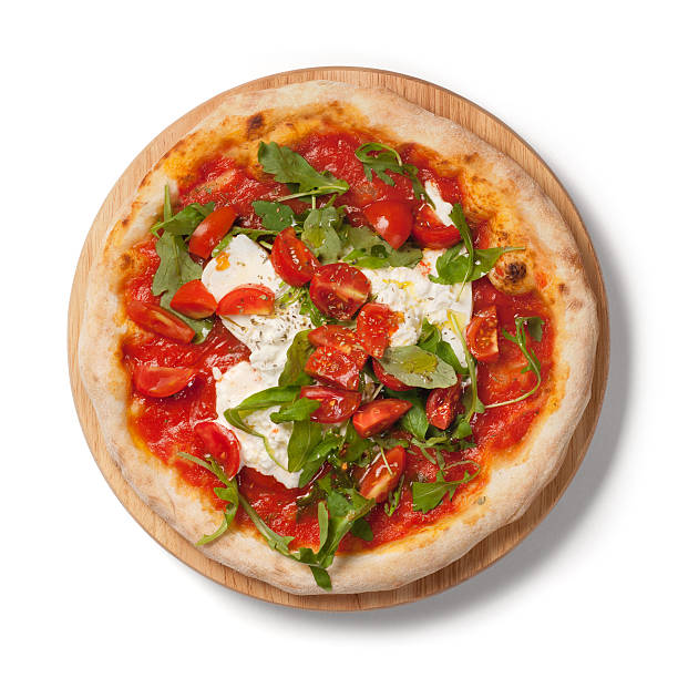 Pizza fresh tomatoes, arugula, burrata on wooden plate, white background stock photo