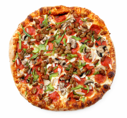 Picture of a super deluxe pizza.