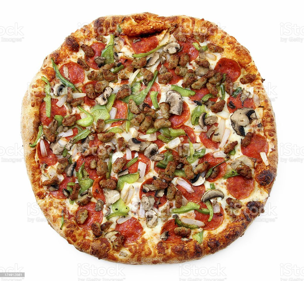Pizza from the top - Super DeluxeO stock photo