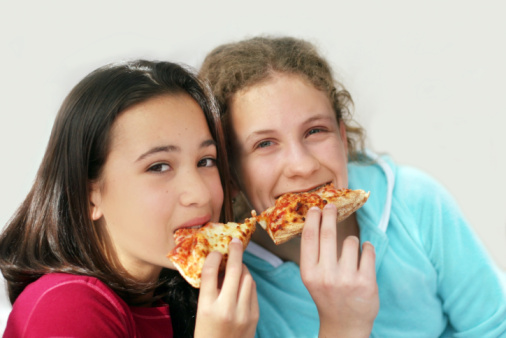 Pizza Girls Stock Photo - Download Image Now