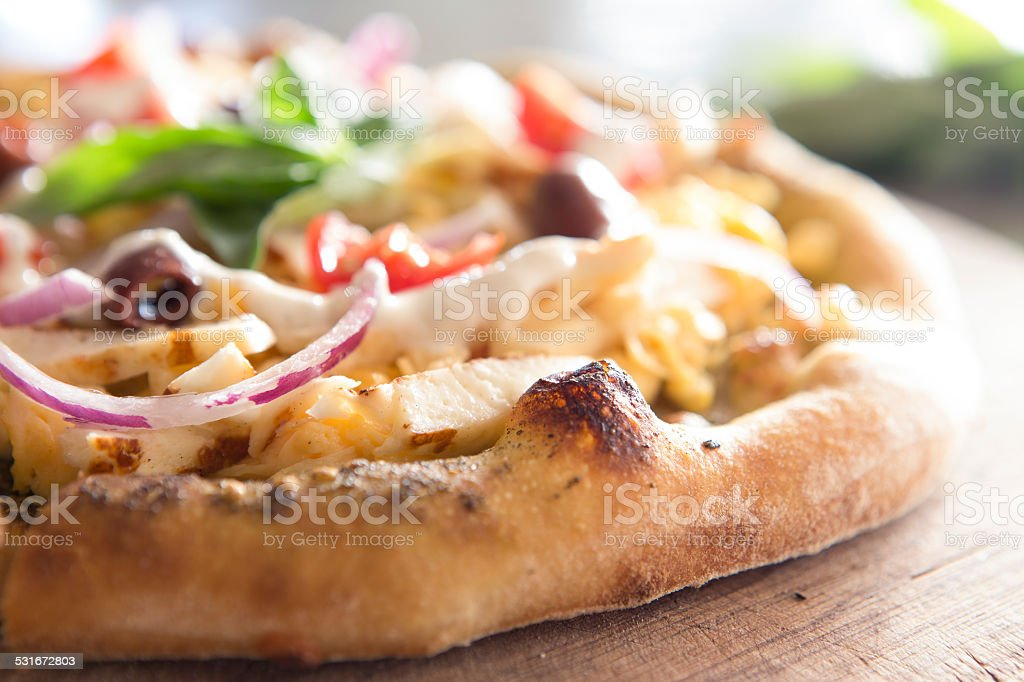 Pizza halloumi and egg stock photo